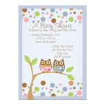 "Twin Owl Baby Shower Invitation 5"" X 7"" Invitation Card"