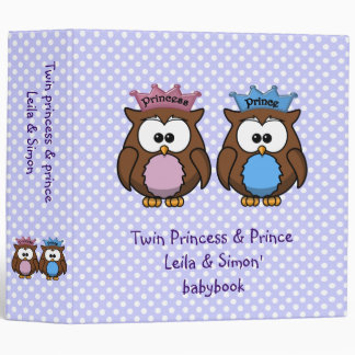 twin owl princess & prince 3 ring binder