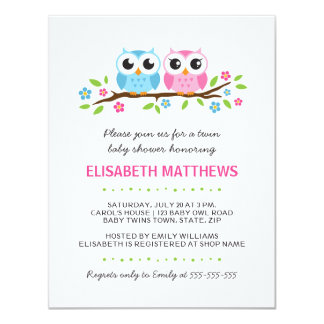 Twin owls on floral branch boy girl baby shower card