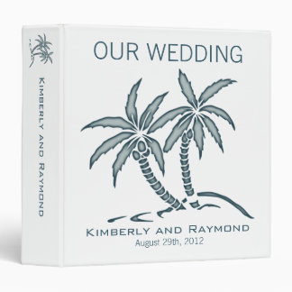 Twin Palm Trees Wedding Memories Binder