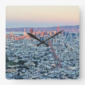 Twin Peaks San Fransisco Square Wall Clock