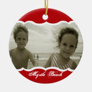 Twin Photo Red Ceramic Ornament