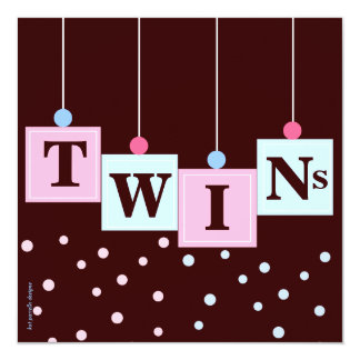 """Twin Pink Blue Blocks Boy and Girl Baby Shower 5.25"""" Square Invitation Card"""