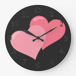 Twin Pink Hearts Large Clock