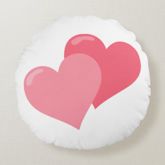 Twin Pink Hearts Round Pillow