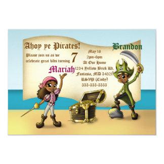 """Twin Pirates Birthday Invitations"" 7"" x 5"" Cards"