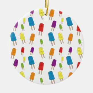 Twin Pops Pattern Round Ceramic Ornament