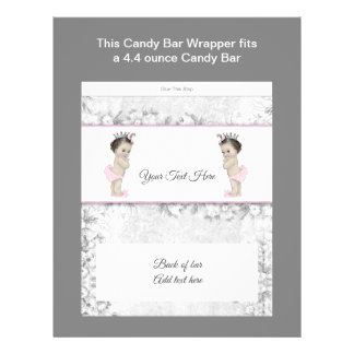 Twin Princess Baby Shower Candy Bar Wrapper