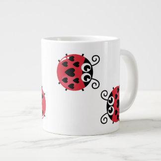 Twin Red Bugs Facing Each Other Jumbo Mug