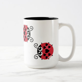 Twin Red Bugs Facing Each Other Two-Tone Mug