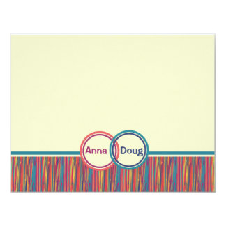 """Twin Rings Personalized Stationery 4.25"""" X 5.5"""" Invitation Card"""