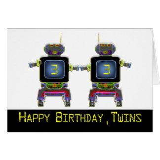 Twin Robot Birthday 3 years old birthday card