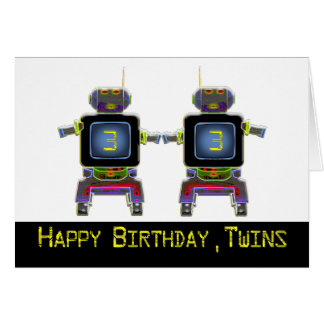 Twin Robot Birthday 3 years old Greeting Card