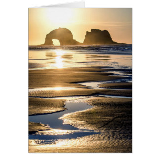 Twin Rocks Sunset at Low Tide Card