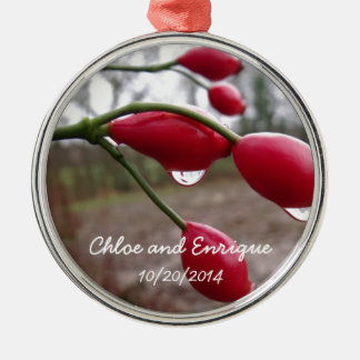 Twin Rose Hips And Rain Personalized Wedding Metal Ornament