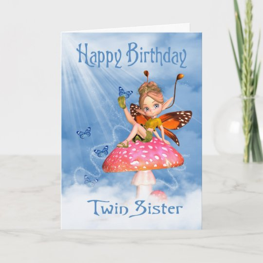 Twin Sister Birthday Card Cute Fairy On A Mushro Zazzle