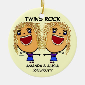 Twin Sisters Rock Cartoon Ceramic Ornament