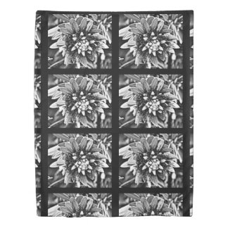 Twin Size Duvet Cover White Cactus Flower in Black