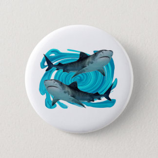 TWIN TIGER SHARKS 2 INCH ROUND BUTTON