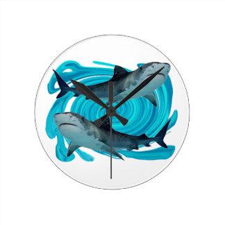 TWIN TIGER SHARKS CLOCK