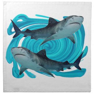 TWIN TIGER SHARKS CLOTH NAPKIN