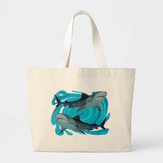TWIN TIGER SHARKS LARGE TOTE BAG
