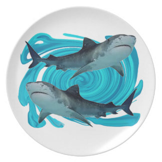 TWIN TIGER SHARKS PLATE