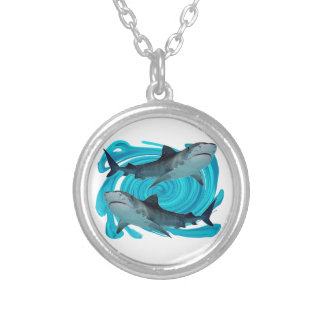 TWIN TIGER SHARKS SILVER PLATED NECKLACE