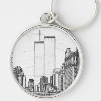 Twin Towers Silver-Colored Round Keychain