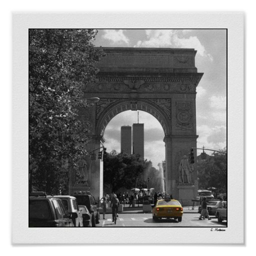 Twin Towers through Washington Square Poster