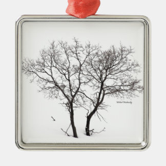 Twin Trees Under Snow Silver-Colored Square Ornament