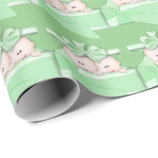 Twin unisex baby wrapping paper green