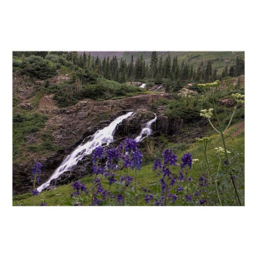 Twin Waterfall and Purple Flowers Posters