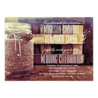 Twine Wrapped Mason Jar Heart Key Wedding Invites