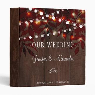 Twinkle lights autumn fall leaves wedding vinyl binder
