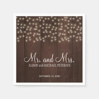 Twinkle lights country rustic mr and mrs wedding disposable napkin