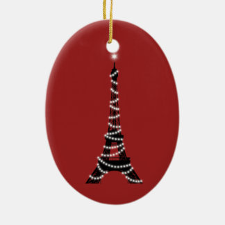 Twinkle Lights Eiffel Tower Ornament (red)