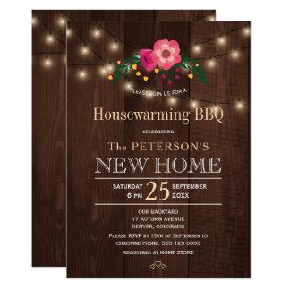 Twinkle lights floral rustic housewarming bbq card
