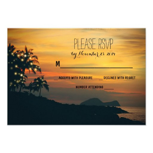 twinkle lights palms beach wedding RSVP cards