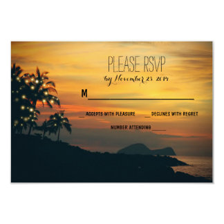 twinkle lights palms beach wedding RSVP cards Personalized Invites