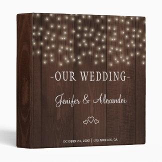 Twinkle lights rustic autumn barn wood wedding binders