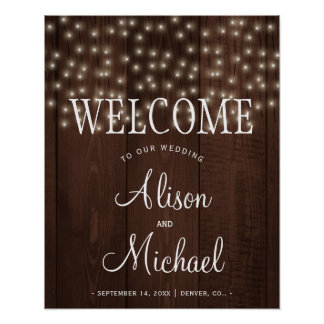 Twinkle lights rustic fall wedding welcome sign