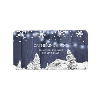 Twinkle lights snowflakes barn wood rustic winter label