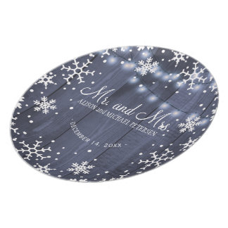 Twinkle lights snowflakes mr and mrs wedding plate