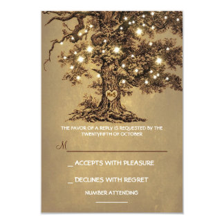 "Twinkle Lights Tree Rustic Wedding RSVP card 3.5"" X 5"" Invitation Card"