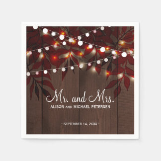 Twinkle lights wedding rustic mr and mrs wedding disposable napkins