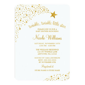 """Twinkle Little Shooting Star Faux Gold Baby Shower 4.5"""" X 6.25"""" Invitation Card"""