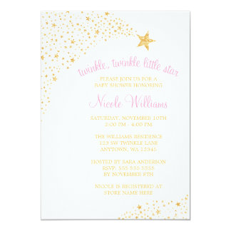 """Twinkle Little Shooting Star Gold Pink Baby Shower 5"""" X 7"""" Invitation Card"""
