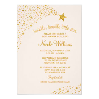 Twinkle Little Shooting Star Pink Gold Baby Shower Card