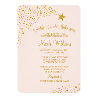 """Twinkle Little Shooting Star Pink Gold Baby Shower 4.5"""" X 6.25"""" Invitation Card"""